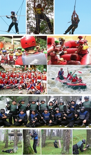 Paket Rafting (Arung Jeram), Paintball, Flying Fox, High Ropes